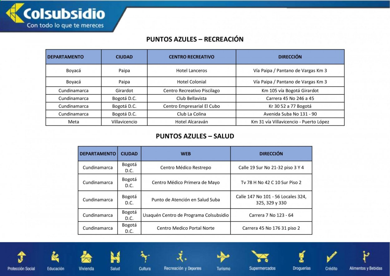 Folleto actual Colsubsidio - Ventas - tv, portal. Página 1.