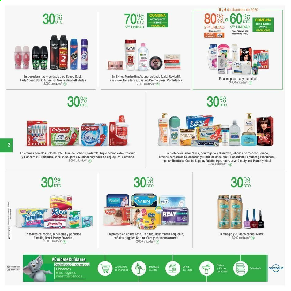 Folleto actual Jumbo - 12.03.2020 - 12.06.2020 - Ventas - colgate, dove, elizabeth arden, estantería, garnier, huggies, lady speed stick, Maquillaje, maybelline, tena, toalla, pañales, servilleta, neutrogena, nivea, palette, desodorante, pañuelos, loreal, elvive. Página 2.