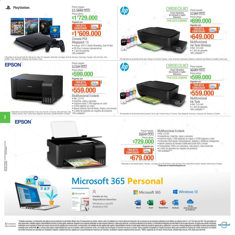 Folleto actual Jumbo - 03.11.2021 - 03.17.2021 - Ventas - pera, android, cartucho, cónsola, Epson, hp, chia, multifuncional, PlayStation, Tabletas, PlayStation 4, impresión. Página 2.