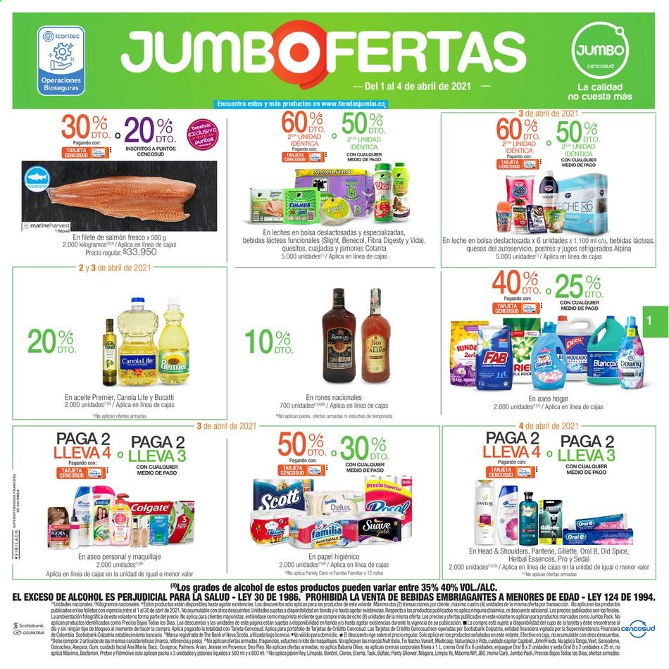 Folleto actual Jumbo - 04.01.2021 - 04.04.2021 - Ventas - queso, papel higiénico, ron, leche, colgate, filete, gillette, head, Head & Shoulders, Maquillaje, protex, refrigerados, veet, volante, pantene, sensodyne, rum, salmón, nivea, old spice, palmolive, oral b, cuajada, blancox, panty, gum, filete de salmón, crema, Medicasp, Tio Nacho. Página 1.