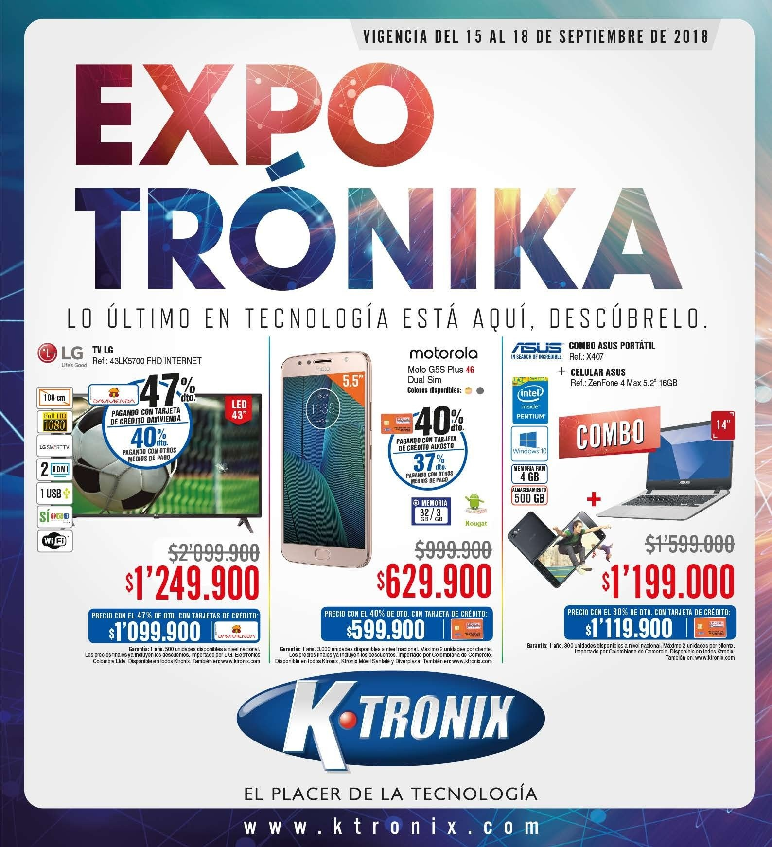 Folleto actual Ktronix - 09.15.2018 - 09.18.2018 - Ventas - portátil, asus, dual sim, full hd, hdmi, intel, lg, tv, usb, pentium, celular. Página 1.