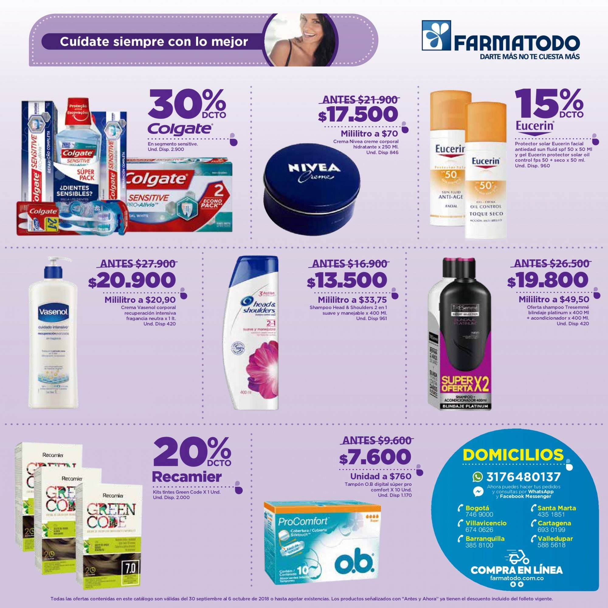 Folleto actual Farmatodo - 09.30.2018 - 10.06.2018 - Ventas - colgate, eucerin, head, head & shoulders, crema, nivea, gel, shampoo, protector solar, acondicionador, oil. Página 3.