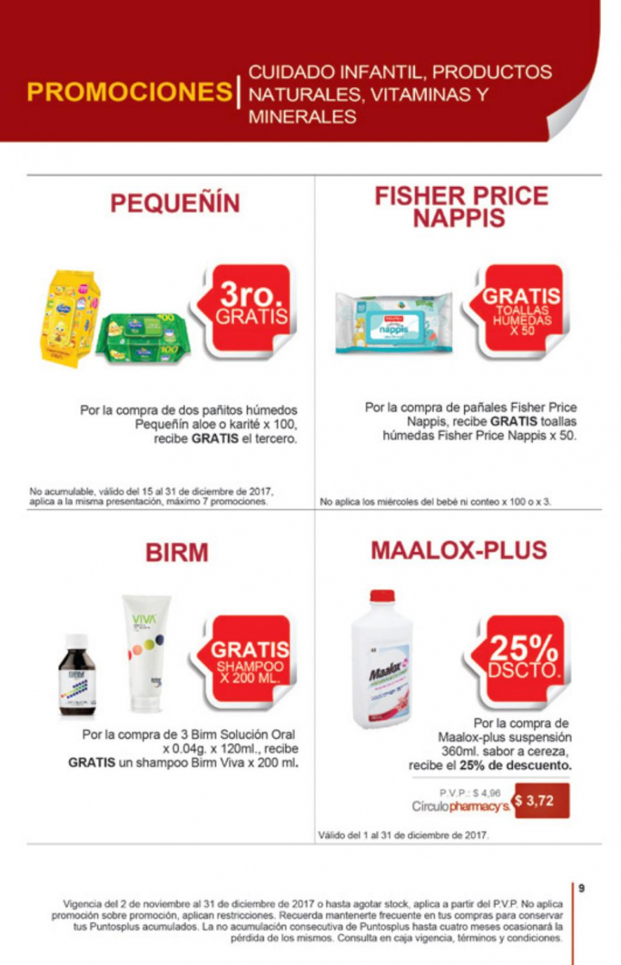 Folleto actual Pharmacy's - 2.11.2017 - 31.12.2017 - Ventas - bebé, cereza, toalla, pañales, fisher price, shampoo, pañitos húmedos, suspensión. Página 8.