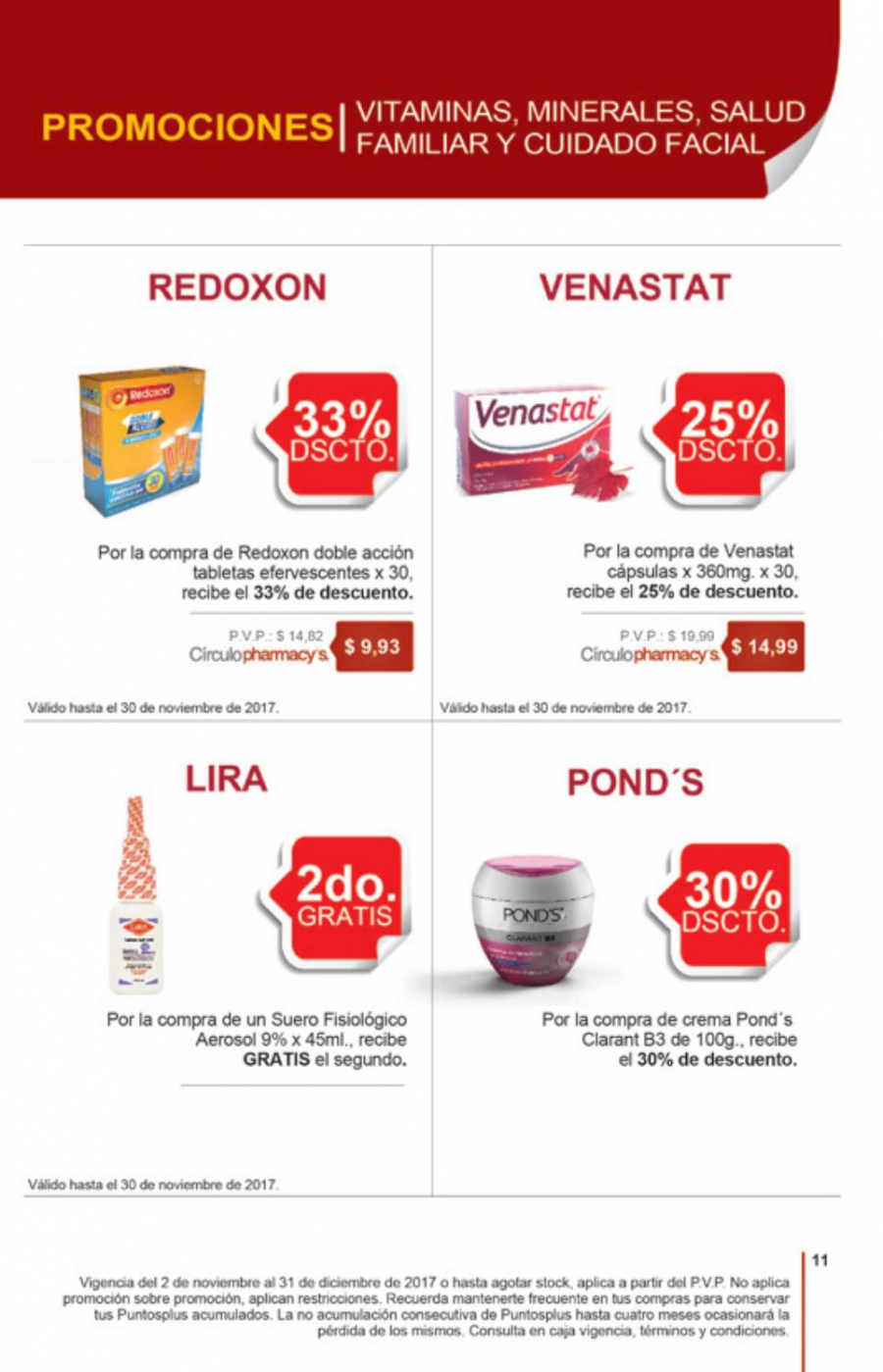 Folleto actual Pharmacy's - 2.11.2017 - 31.12.2017 - Ventas - cápsula, crema, pond's, cápsulas, aerosol, tabletas. Página 10.