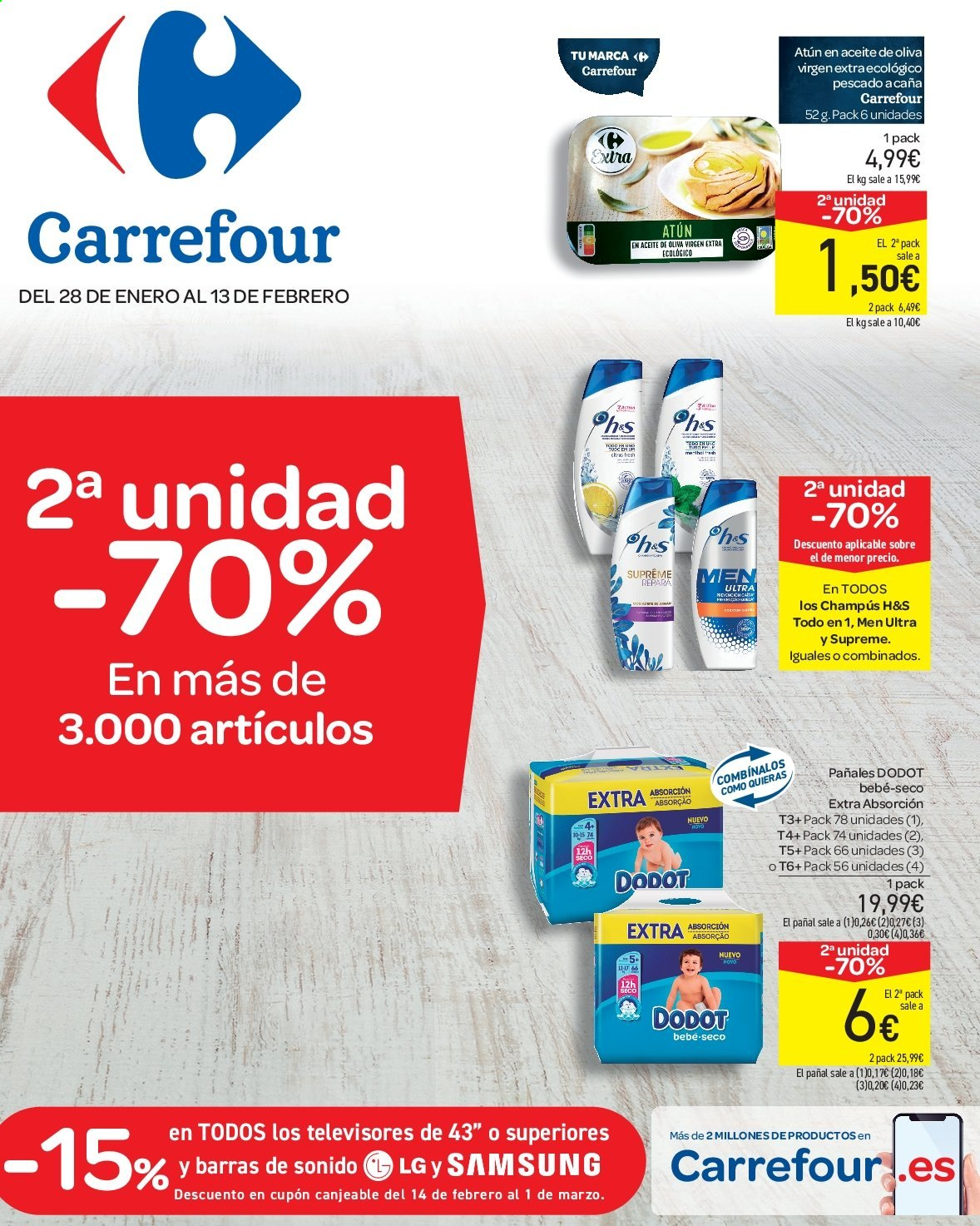 Folleto vigente Carrefour  - 28.1.2020 - 13.2.2020. Página 1.