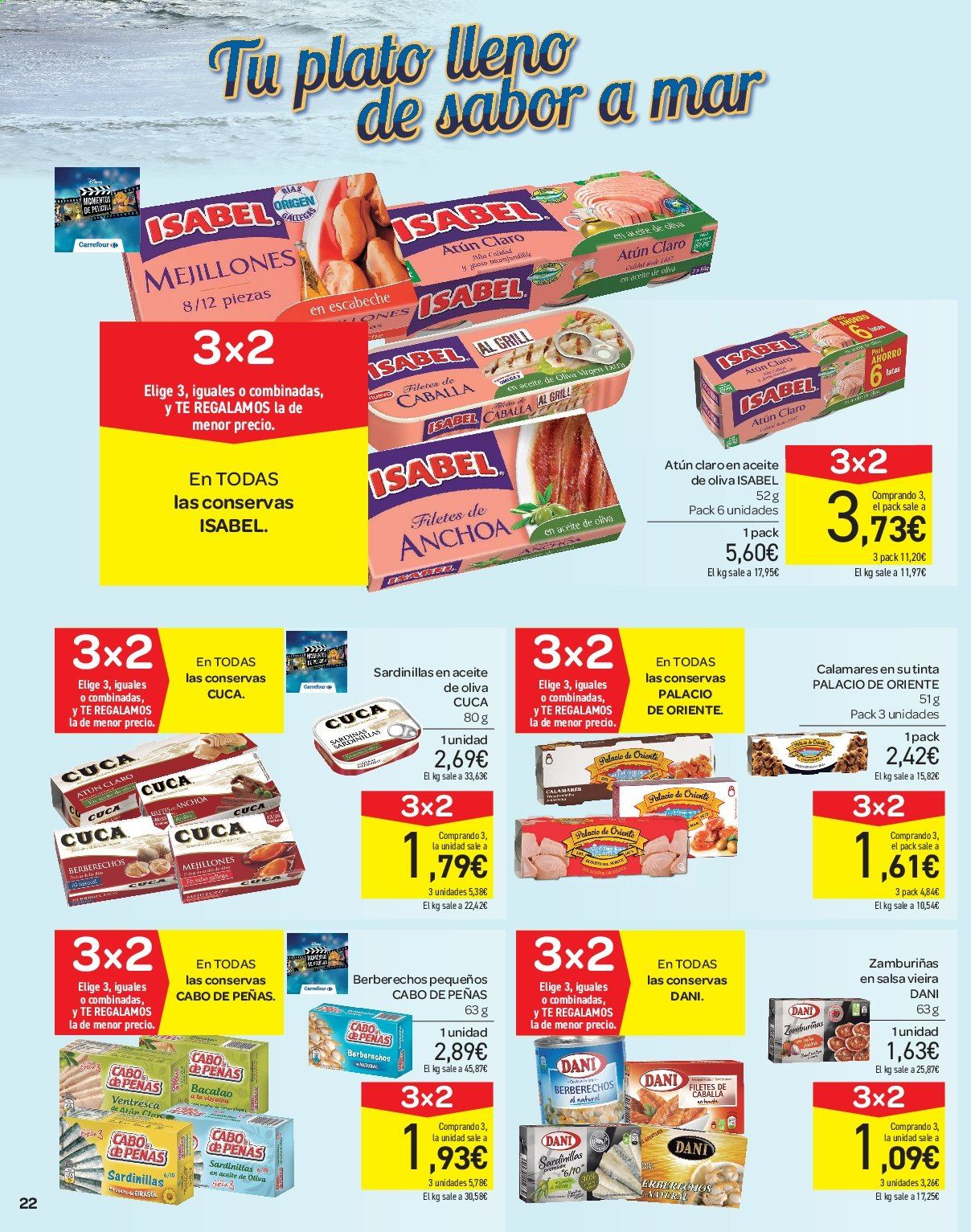 Folleto vigente Carrefour  - 21.6.2019 - 10.7.2019. Página 22.
