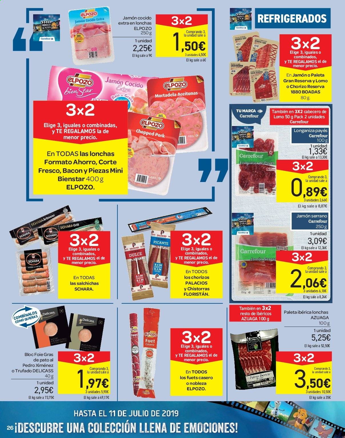 Folleto vigente Carrefour  - 21.6.2019 - 10.7.2019. Página 26.