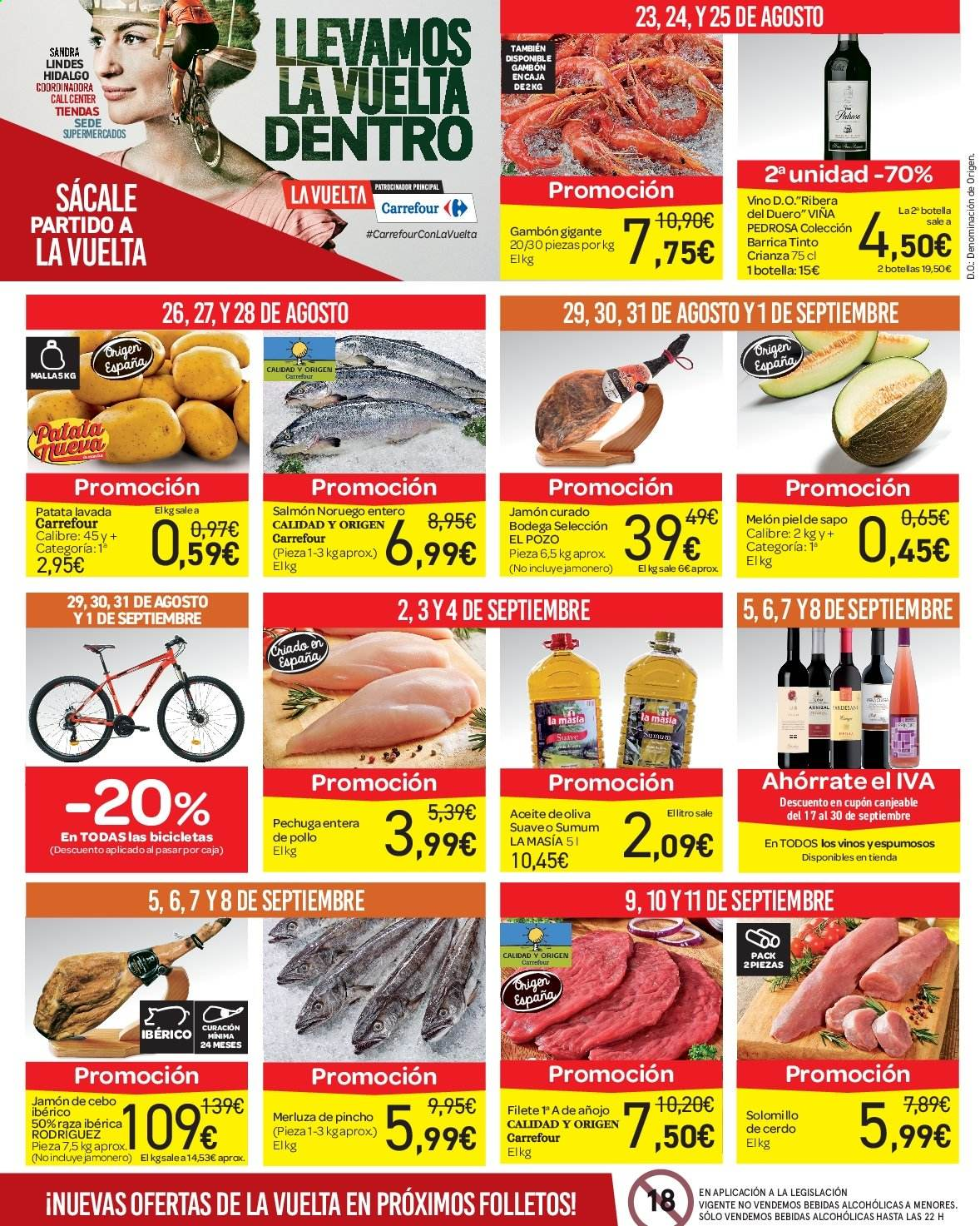 Folleto vigente Carrefour  - 23.8.2019 - 10.9.2019. Página 4.