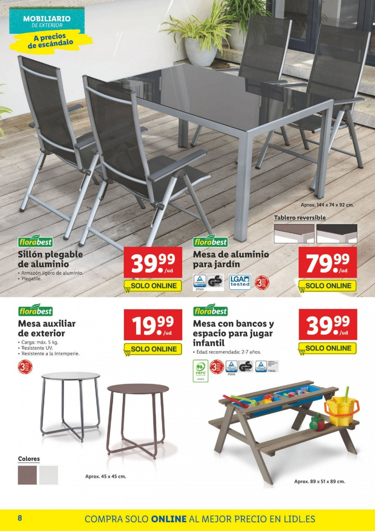 Folleto actual Lidl - Ventas - plegable, banco, mesa, mesa auxiliar, tablero, sillón. Página 8.