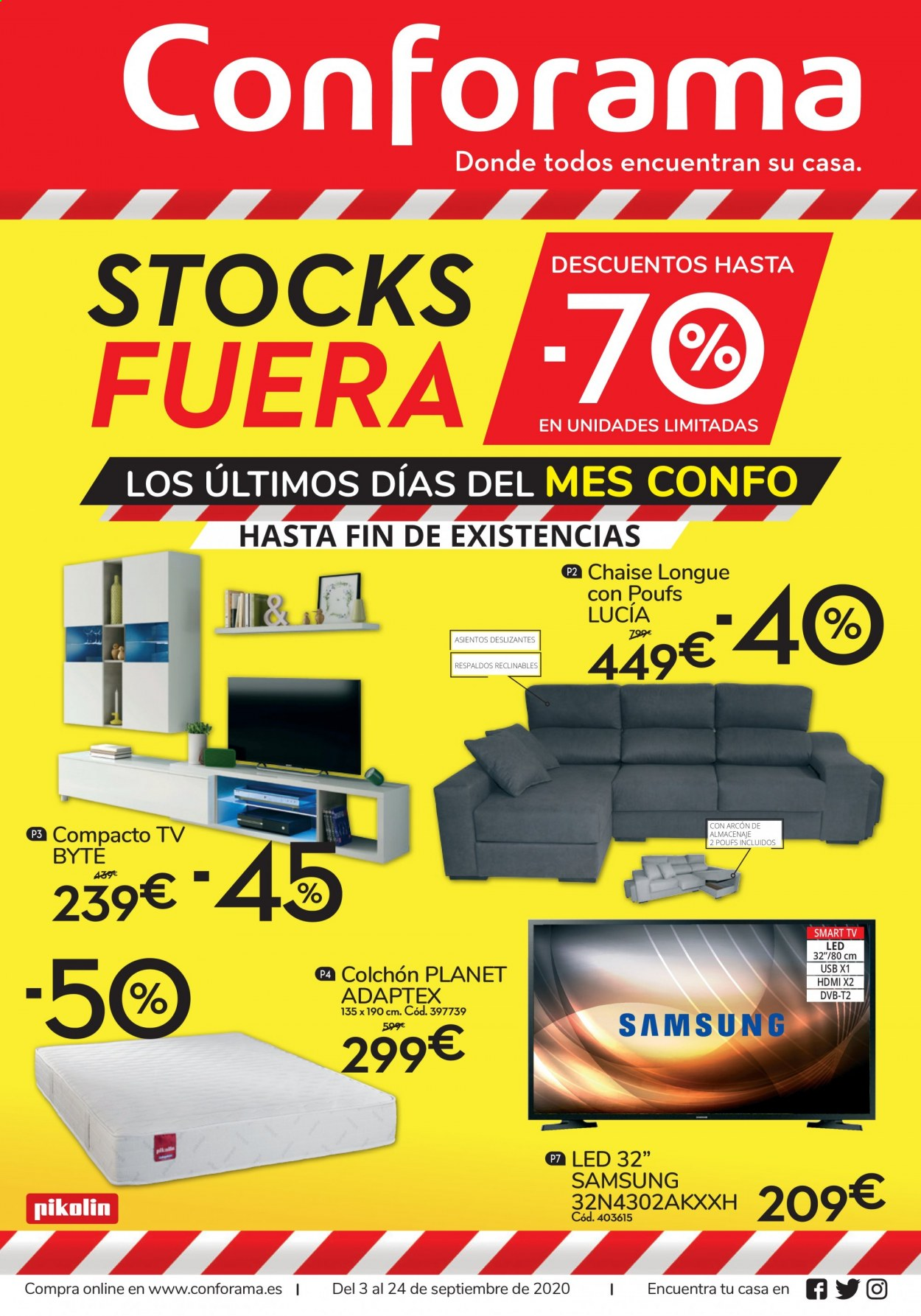 Folleto actual Conforama - 3.9.2020 - 24.9.2020 - Ventas - tv led, led, colchón, dvb-t, hdmi, chaiselongue, smart tv, televisor led, tv, usb, samsung, smart tv led. Página 1.