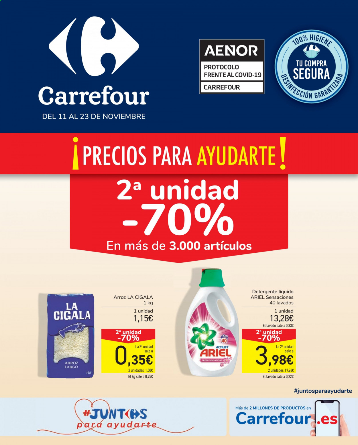 Folleto actual Carrefour - 11.11.2020 - 23.11.2020 - Ventas - detergente, arroz, ariel. Página 1.