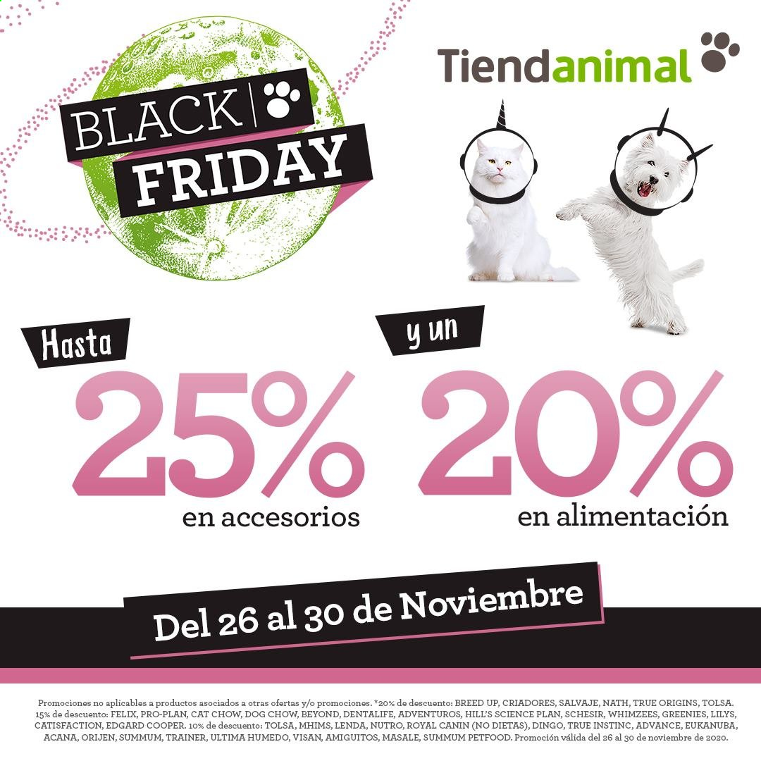 Folleto actual Tiendanimal - 26.11.2020 - 30.11.2020 - Ventas - advance, felix, ultima. Página 1.