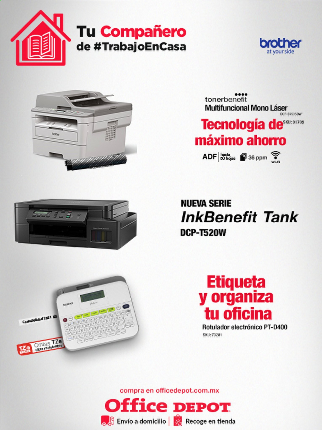 Folleto actual Office Depot - Ventas - brother, mono, multifuncional, wifi. Página 1.