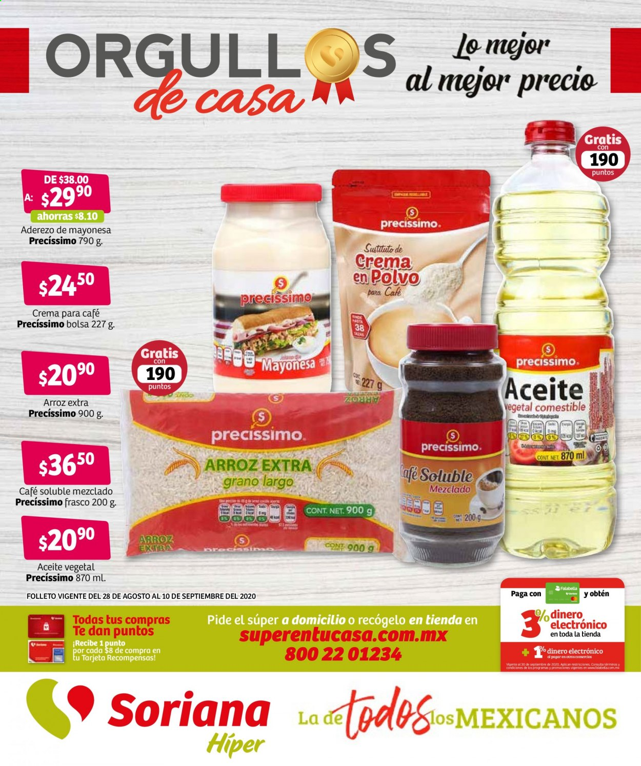 Folleto actual Soriana - 28.8.2020 - 10.9.2020 - Ventas - arroz, mayonesa, café, aceite vegetal. Página 1.