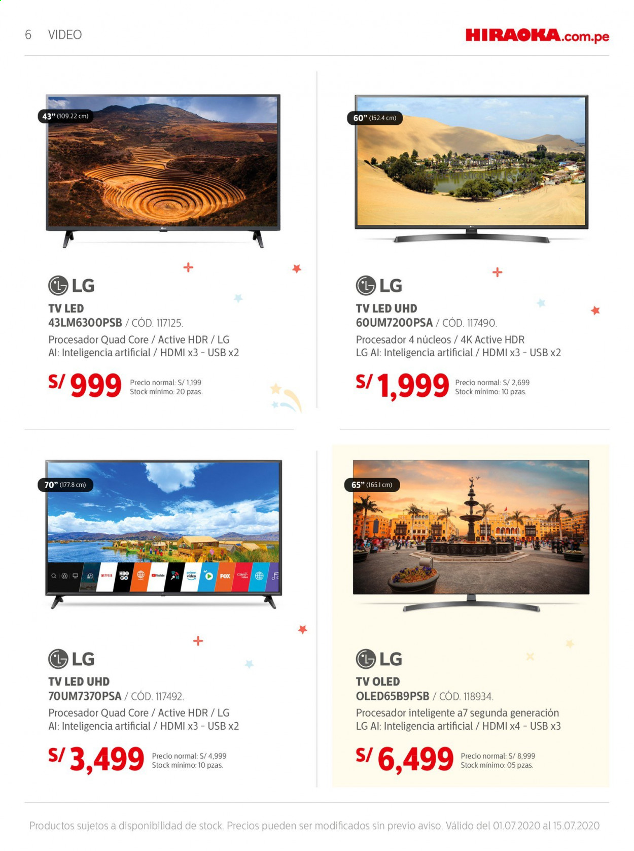 Folleto actual Importaciones Hiraoka - 1.7.2020 - 15.7.2020 - Ventas - tv led, led, hdmi, led tv, lg, procesador, televisor led, tv, usb. Página 6.