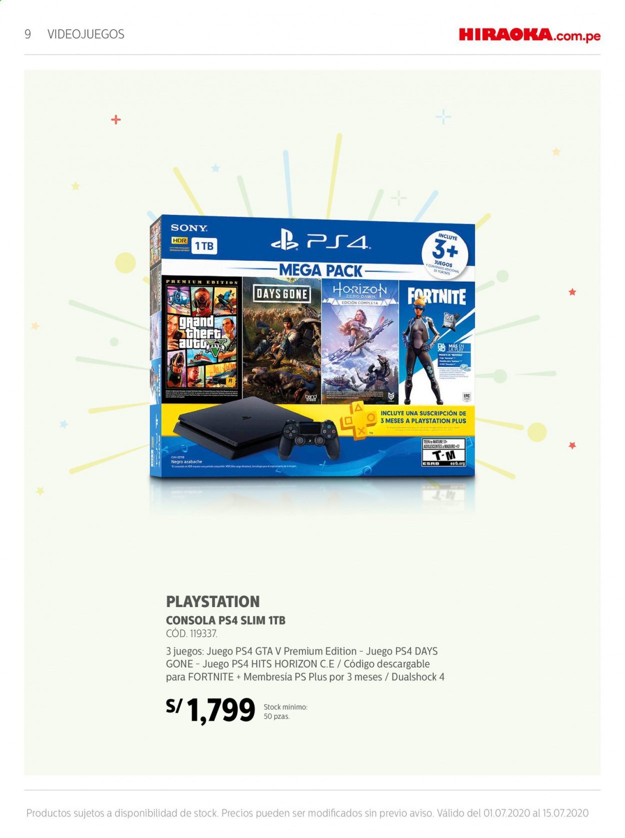 Folleto actual Importaciones Hiraoka - 1.7.2020 - 15.7.2020 - Ventas - auto, cónsola, juego, playstation, sony, slim, fortnite, ps4. Página 9.