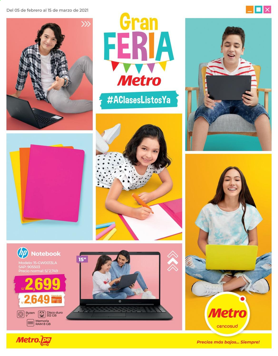 Folleto actual Metro - 5.2.2021 - 15.3.2021 - Ventas - disco duro, hp, disco, metro, notebook. Página 1.