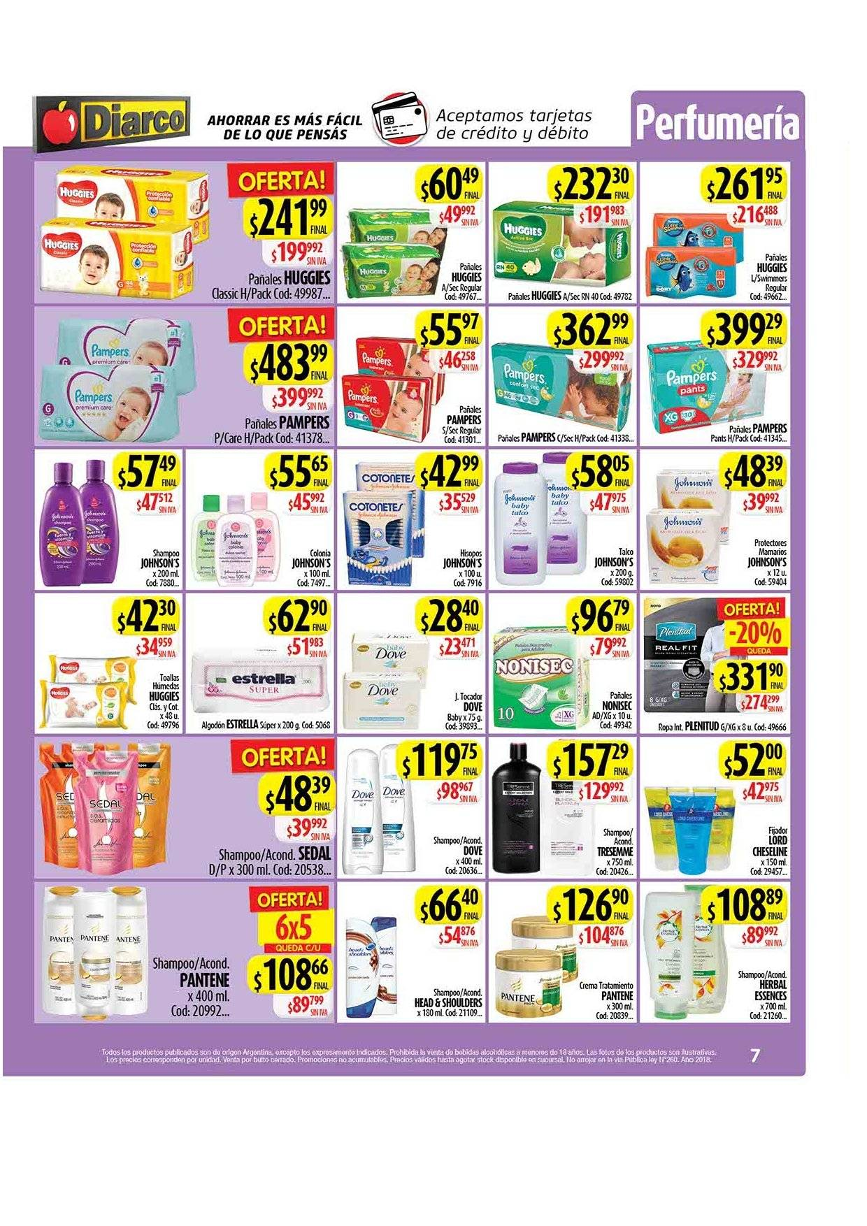 Folleto actual Diarco - 2.1.2019 - 5.1.2019 - Ventas - bebida, dove, estrella, head, head & shoulders, huggies, pampers, pañales, pantene. Página 7.