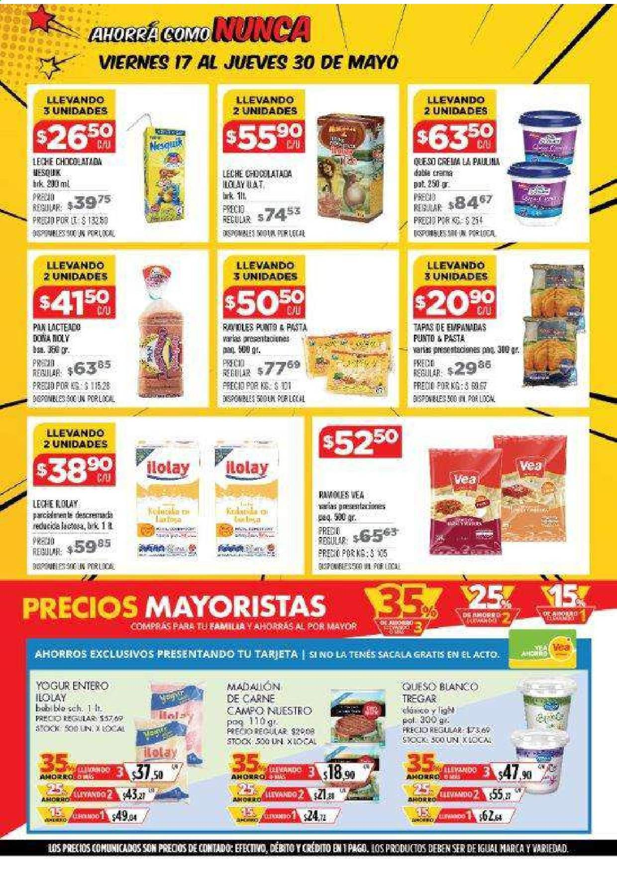 Folleto actual Vea - 17.5.2019 - 30.5.2019 - Ventas - queso, pasta, yogur, leche, carne. Página 2.
