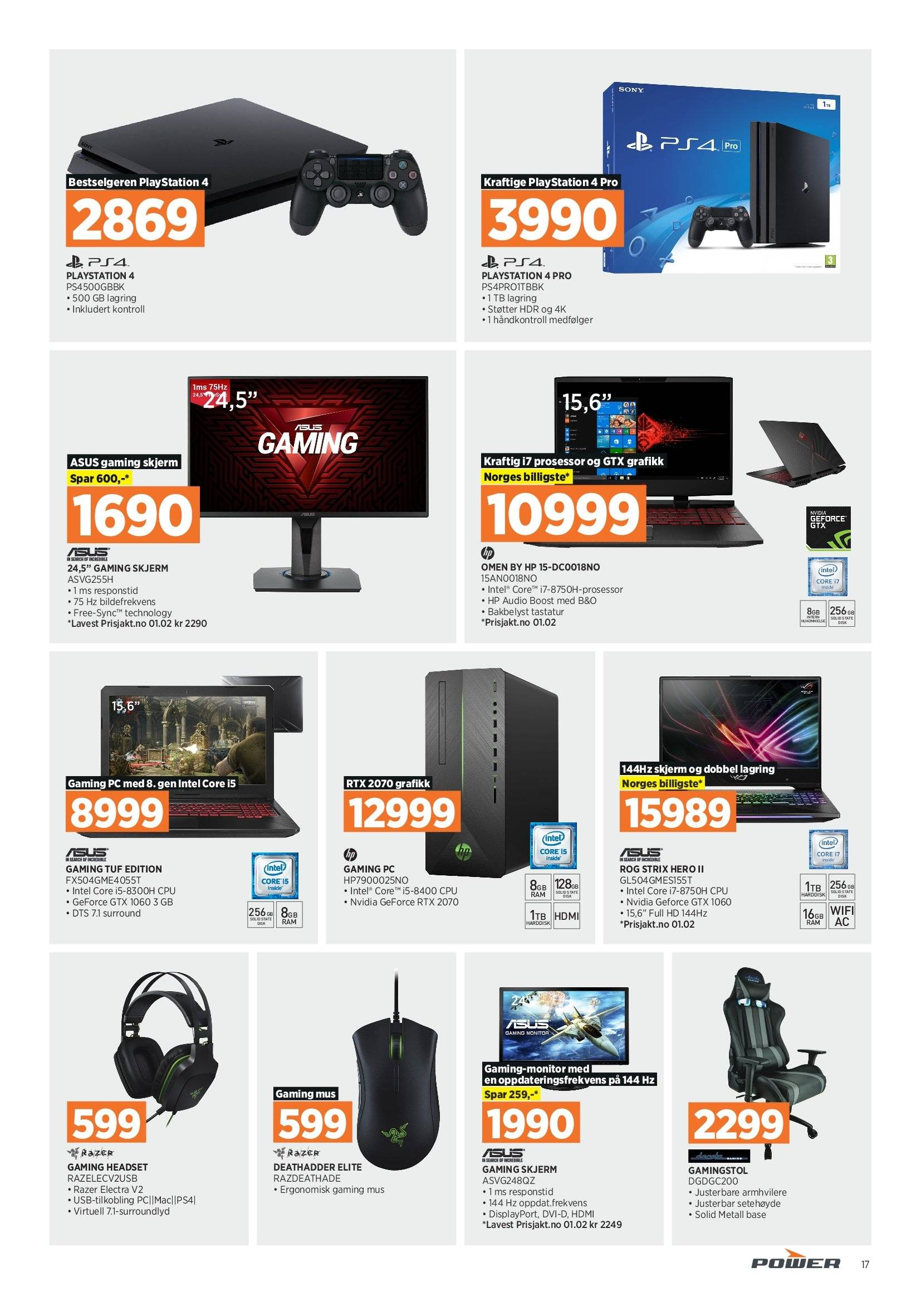 Kundeavis Power - 18.02.2019 - 23.02.2019 - Produkter fra tilbudsaviser - asus, audio, gaming headset, gaming mus, headset, hp, mus, omen, playstation, ps4, wifi, sony, skjerm. Side 17.
