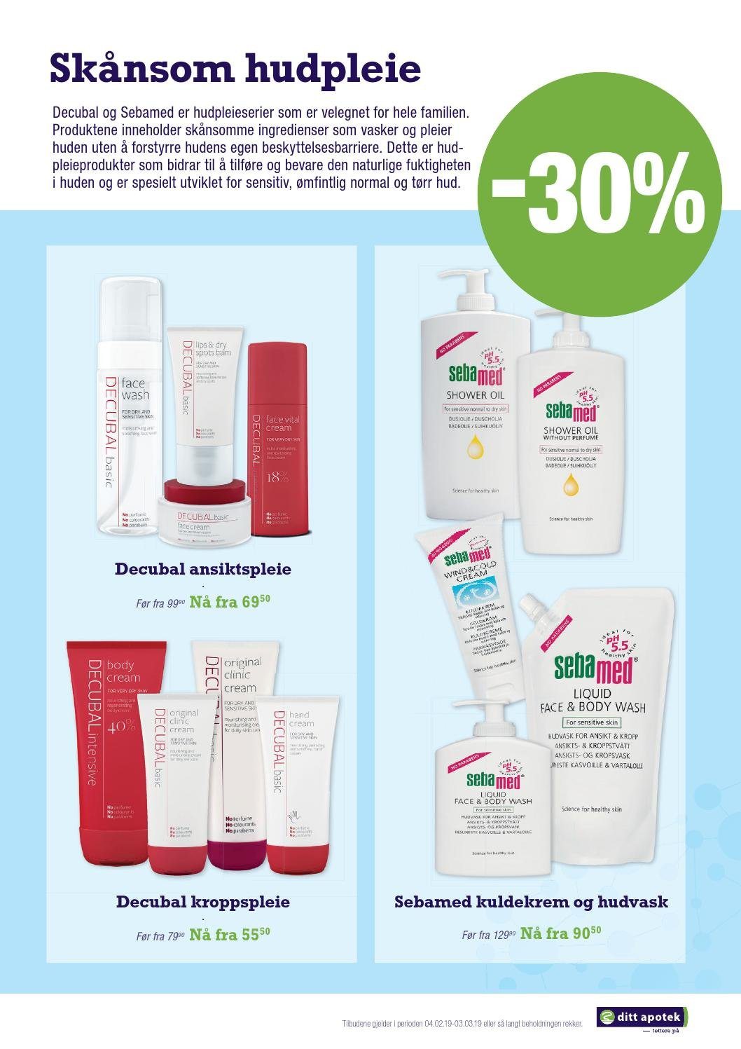 Kundeavis Ditt Apotek - 04.02.2019 - 03.03.2019 - Produkter fra tilbudsaviser - body cream, body wash, shower oil, decubal, cream. Side 5.