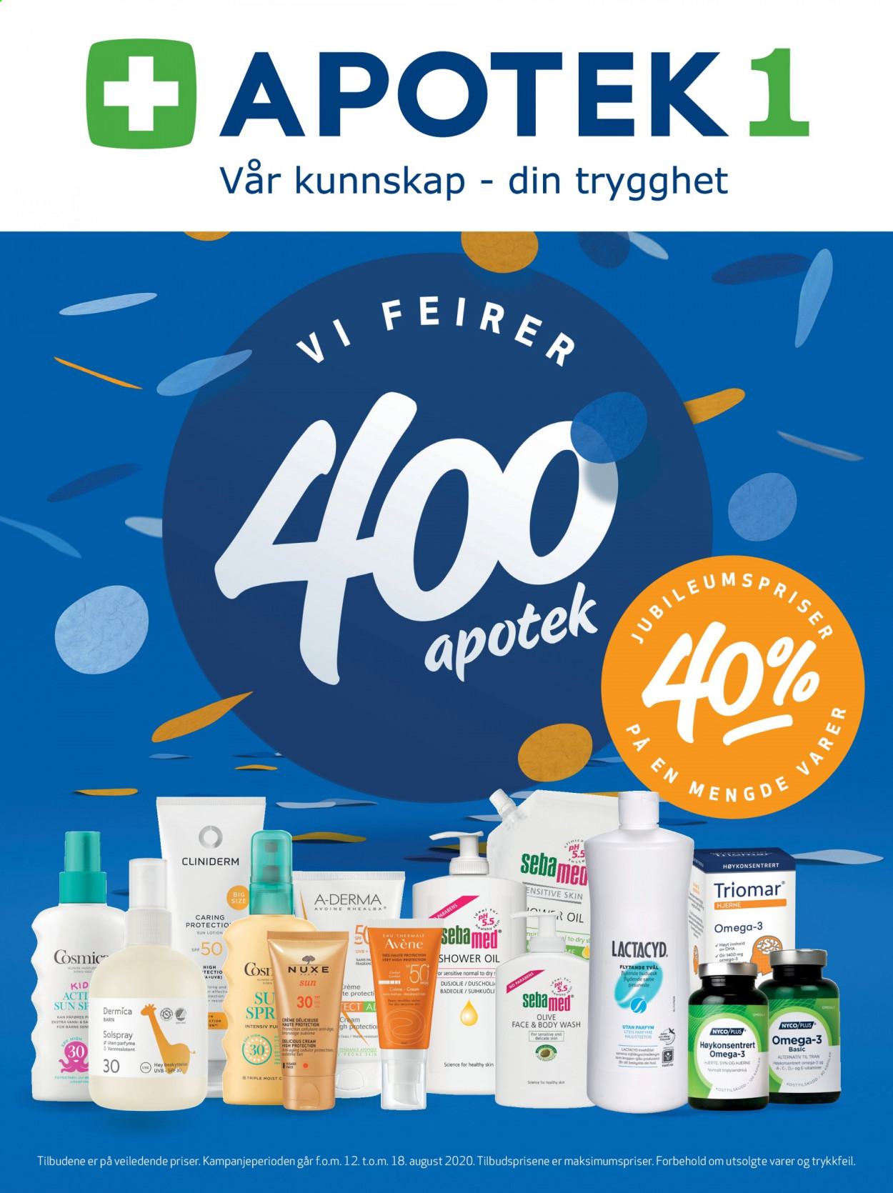 Kundeavis Apotek 1 - 12.08.2020 - 18.08.2020 - Produkter fra tilbudsaviser - body wash, fragrance, høykonsentrert, lactacid, omega-3, shower oil, cream, vann. Side 1.