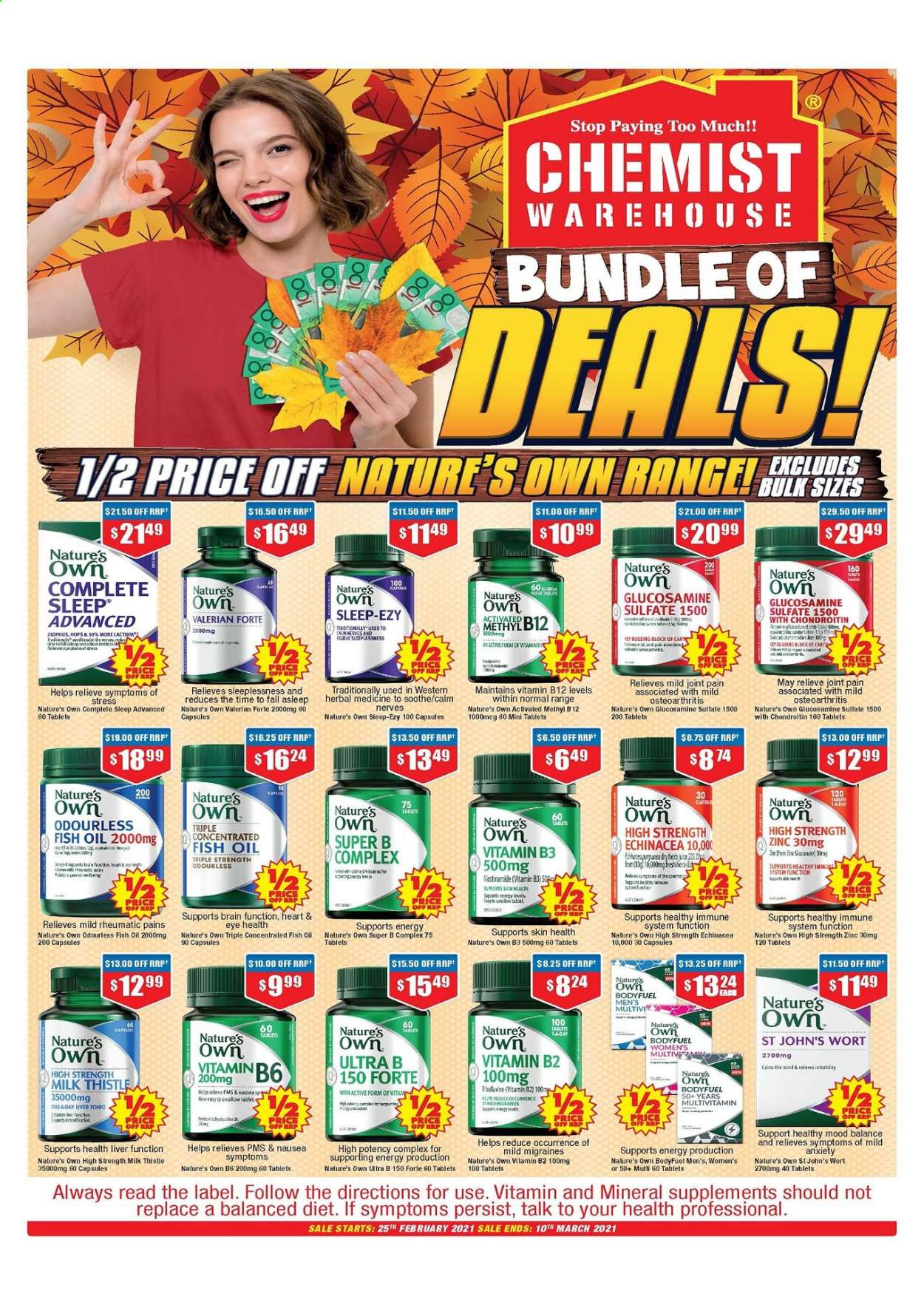 Chemist Warehouse catalogue  - 25.2.2021 - 10.3.2021. Page 1.