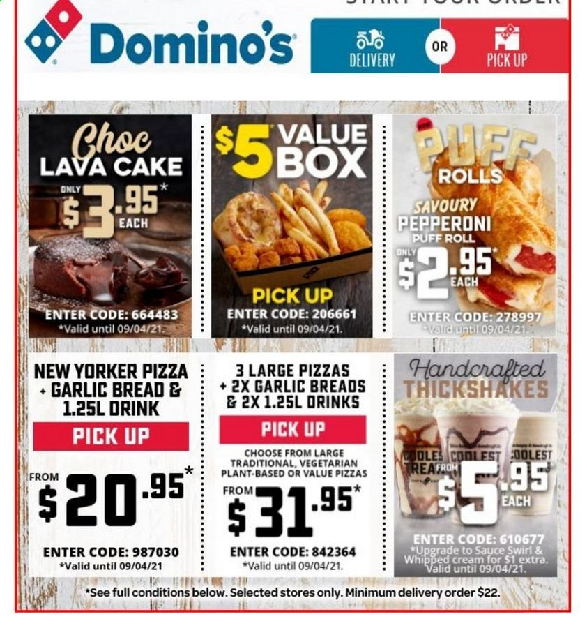 Domino's catalogue  - 9.4.2021 - 9.4.2021. Page 1.