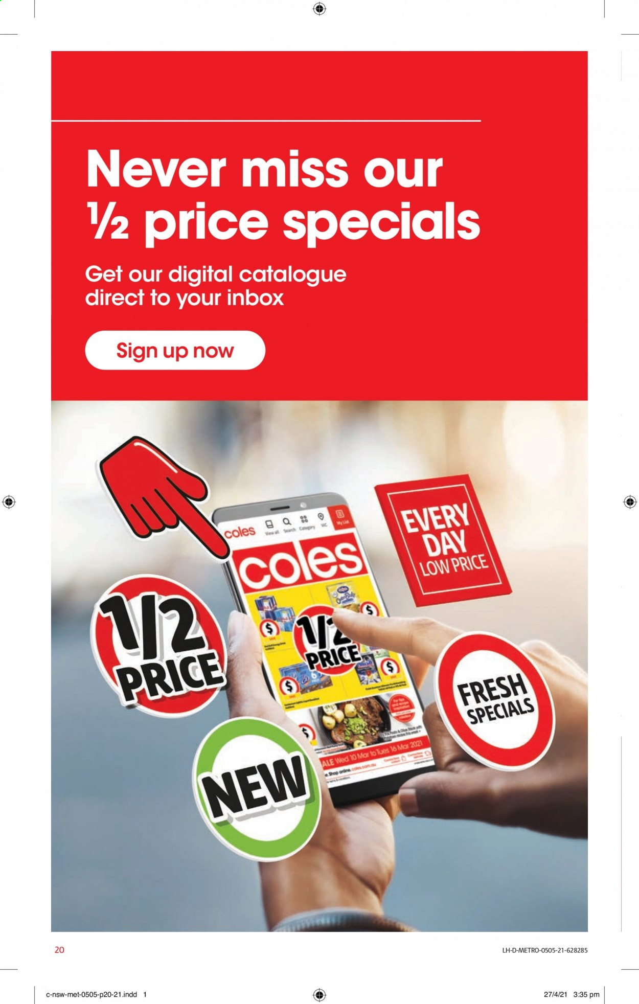 Coles catalogue  - 5.5.2021 - 11.5.2021. Page 20.