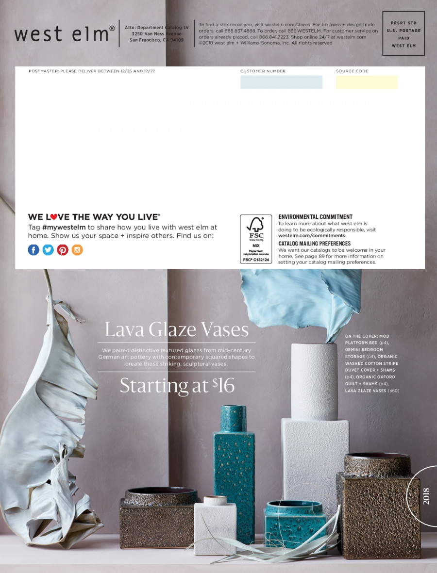 West Elm catalogue  - 18.12.2017 - 31.1.2018. Page 116.