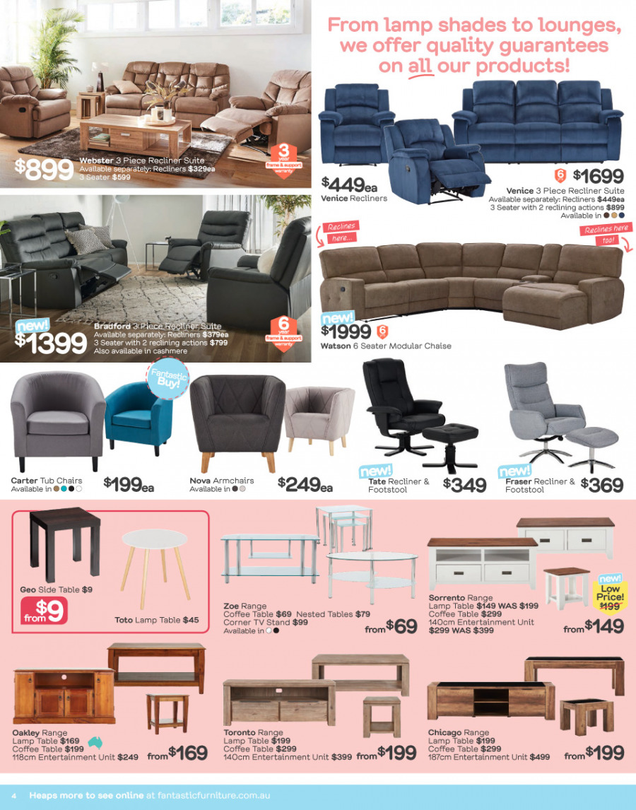 Fantastic Furniture catalogue  - 29.1.2018 - 25.2.2018. Page 4.