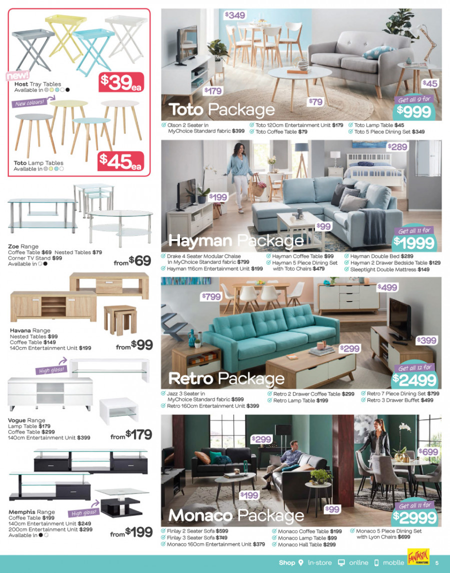 Fantastic Furniture catalogue  - 26.2.2018 - 25.3.2018. Page 5.