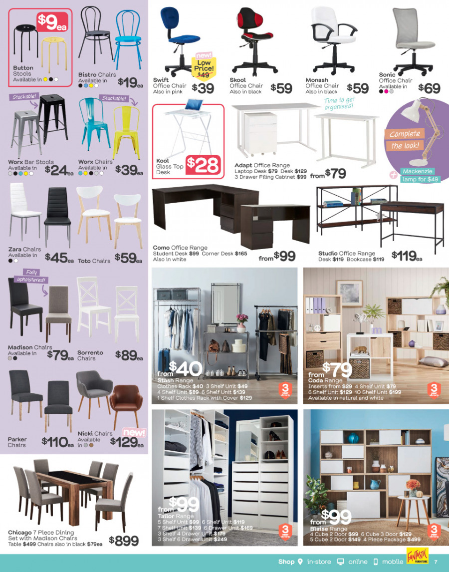 Fantastic Furniture catalogue  - 26.2.2018 - 25.3.2018. Page 7.