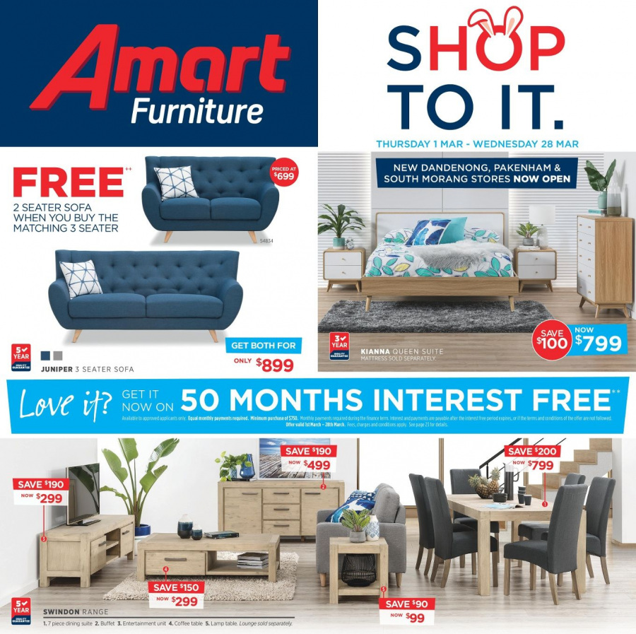 Amart Furniture catalogue  - 28.2.2018 - 28.3.2018. Page 1.