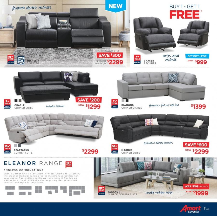 Amart Furniture catalogue  - 28.2.2018 - 28.3.2018. Page 7.