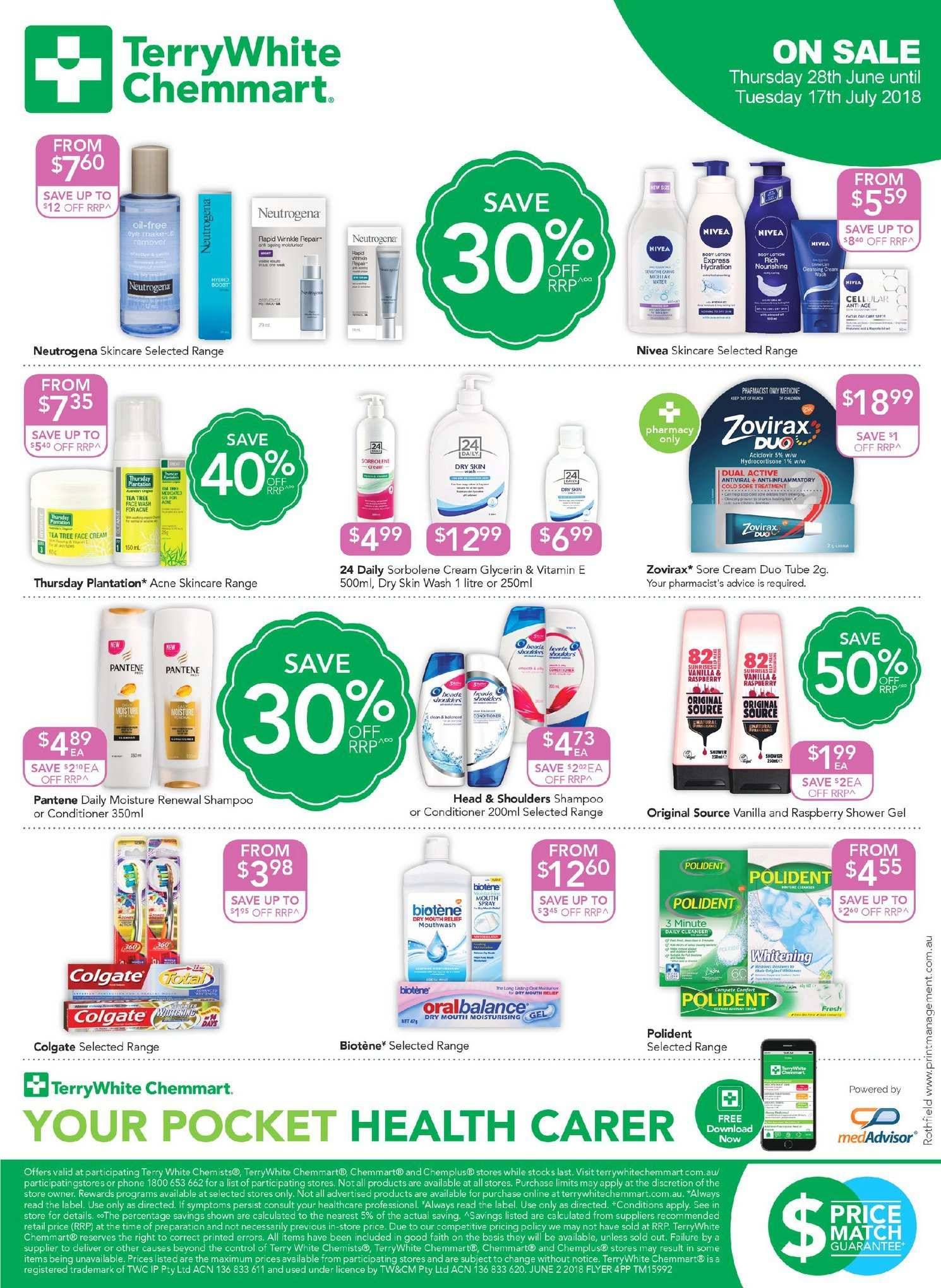 TerryWhite Chemmart catalogue  - 28.6.2018 - 17.7.2018. Page 4.