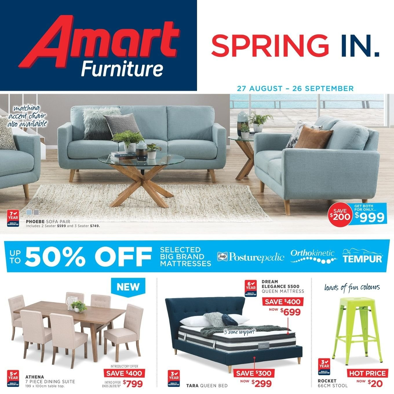 Amart Furniture catalogue  - 27.8.2018 - 26.9.2018. Page 1.