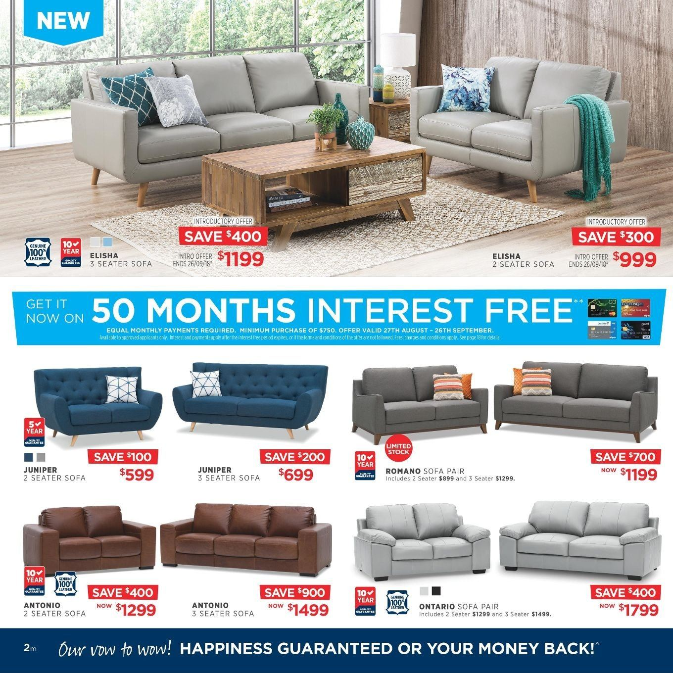 Amart Furniture catalogue  - 27.8.2018 - 26.9.2018. Page 2.
