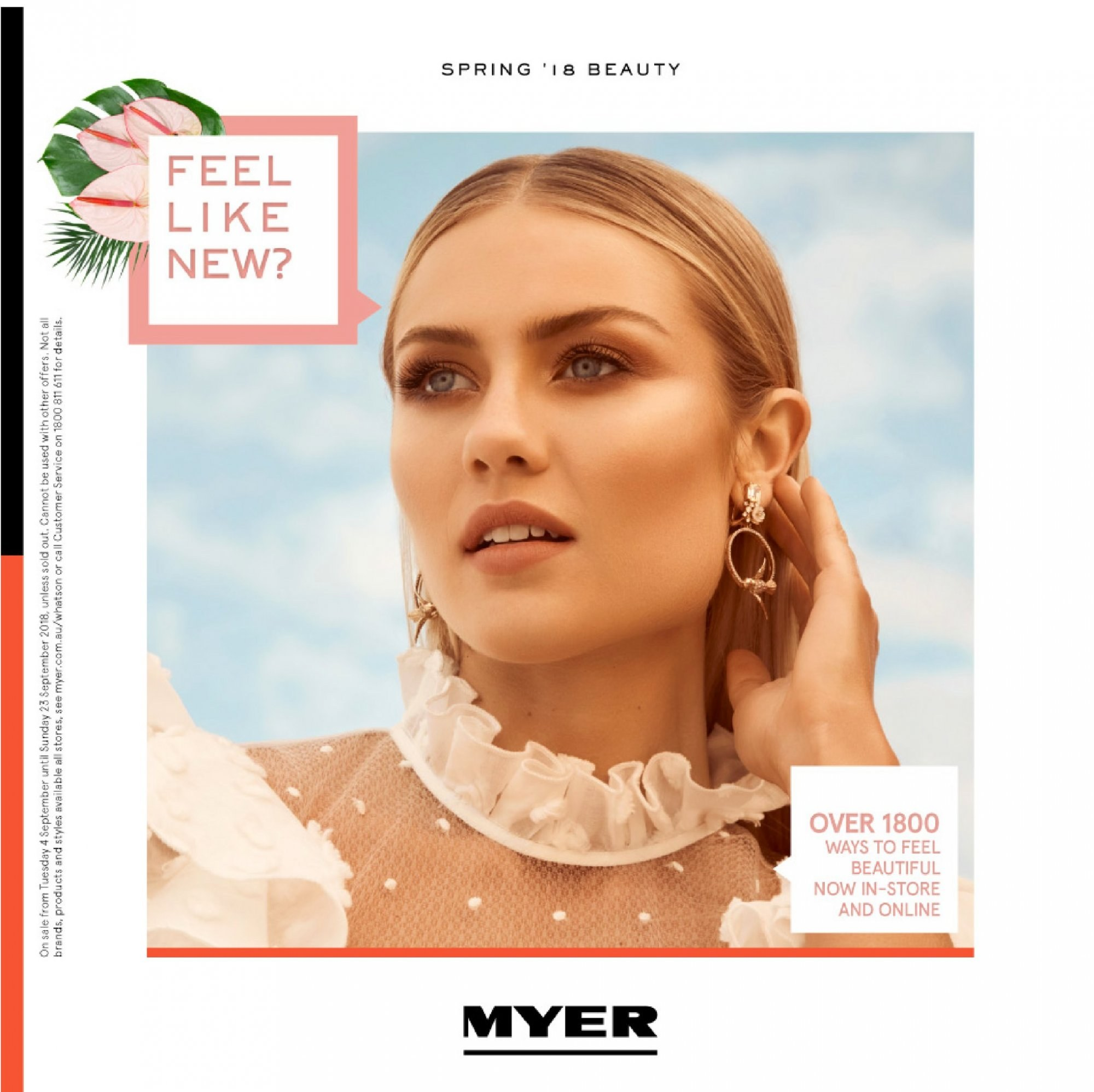 Myer catalogue  - 4.9.2018 - 23.9.2018. Page 1.