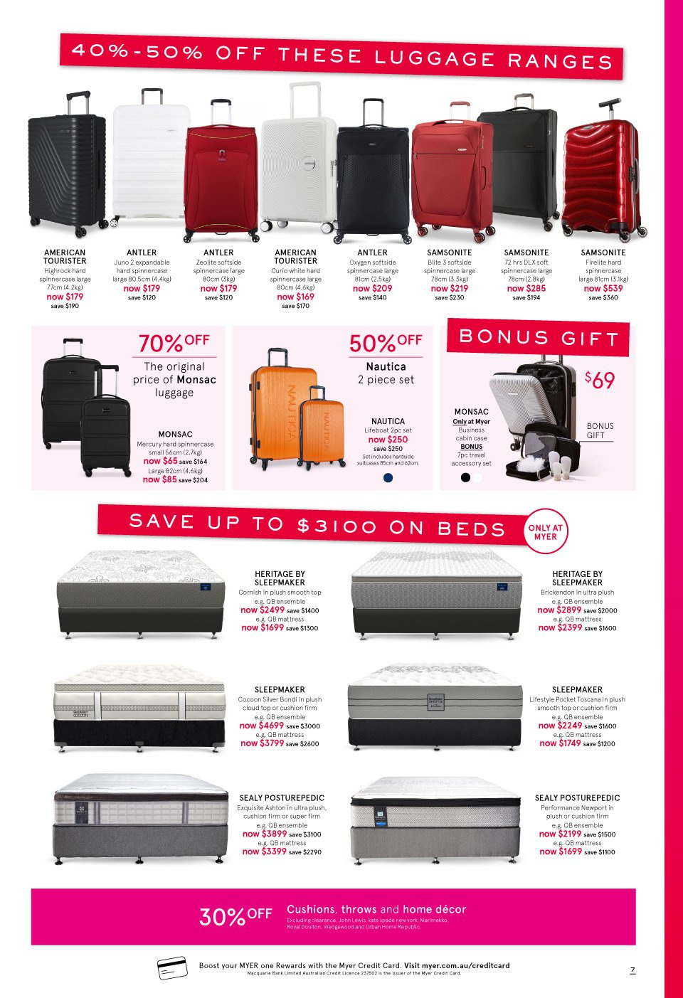 Myer catalogue  - 3.10.2018 - 14.10.2018. Page 7.