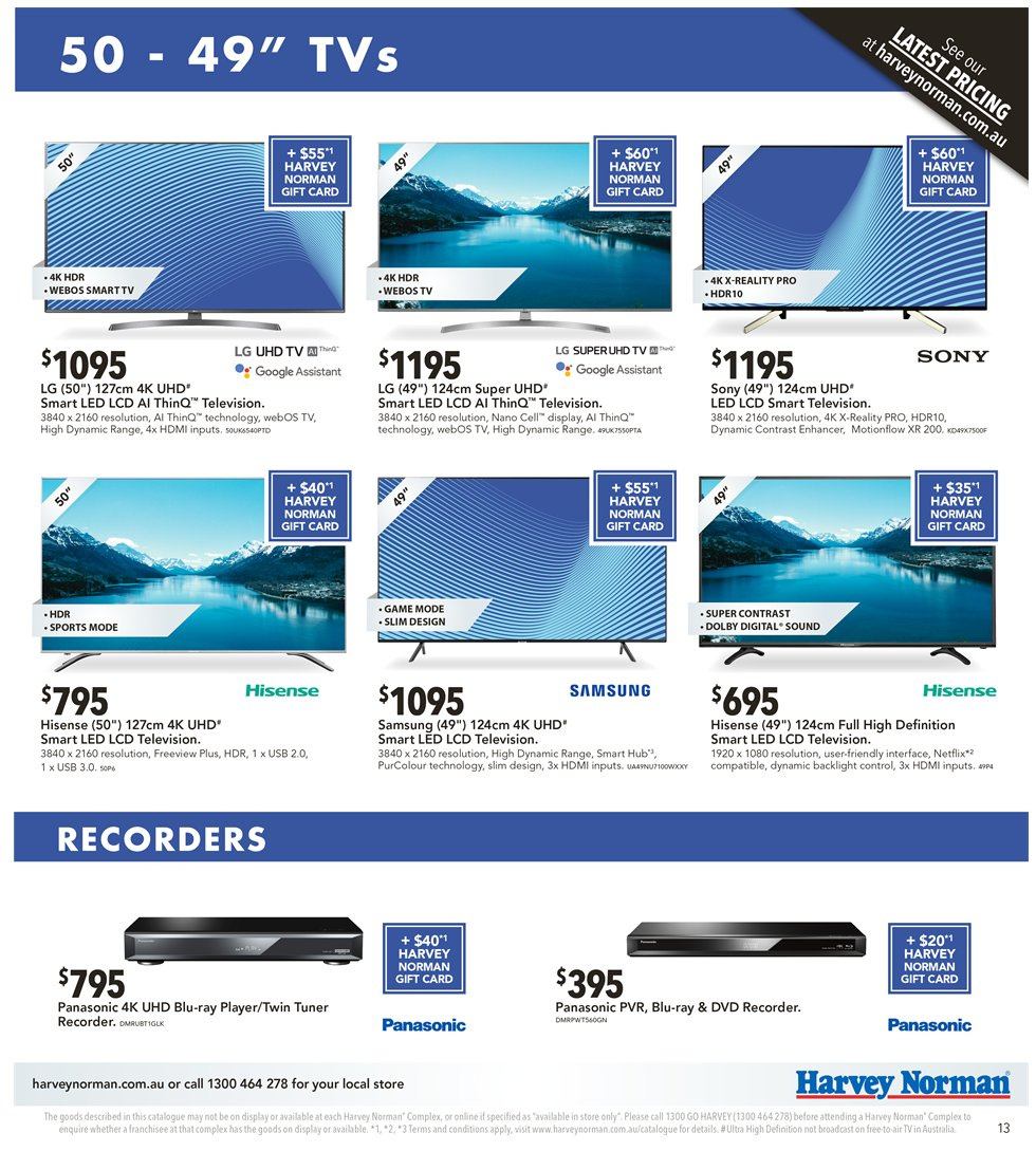 Harvey Norman catalogue  - 2.11.2018 - 18.11.2018. Page 13.