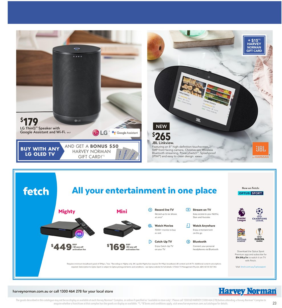 Harvey Norman catalogue  - 2.11.2018 - 18.11.2018. Page 23.