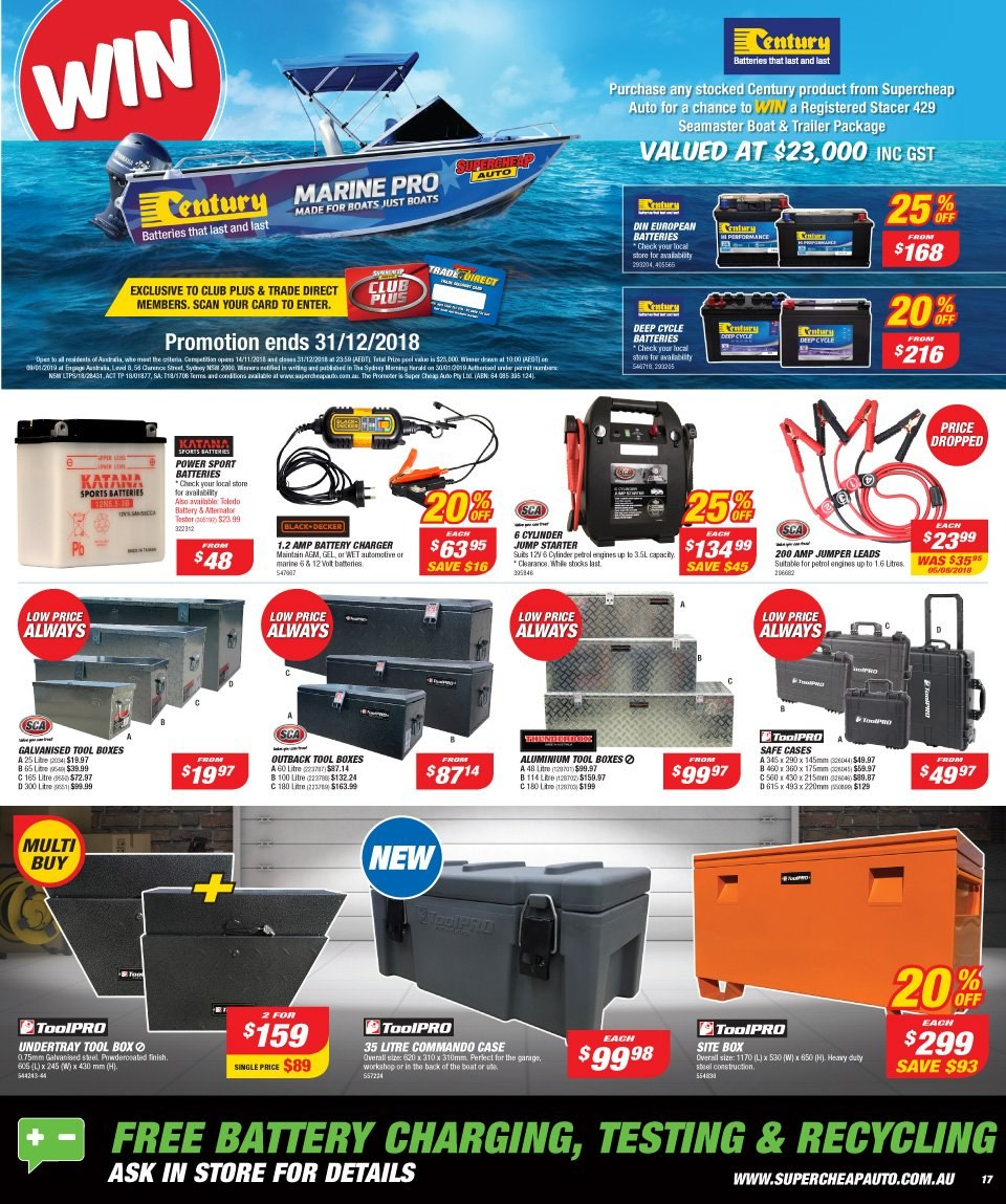 Supercheap Auto catalogue  - 12.12.2018 - 23.12.2018. Page 17.