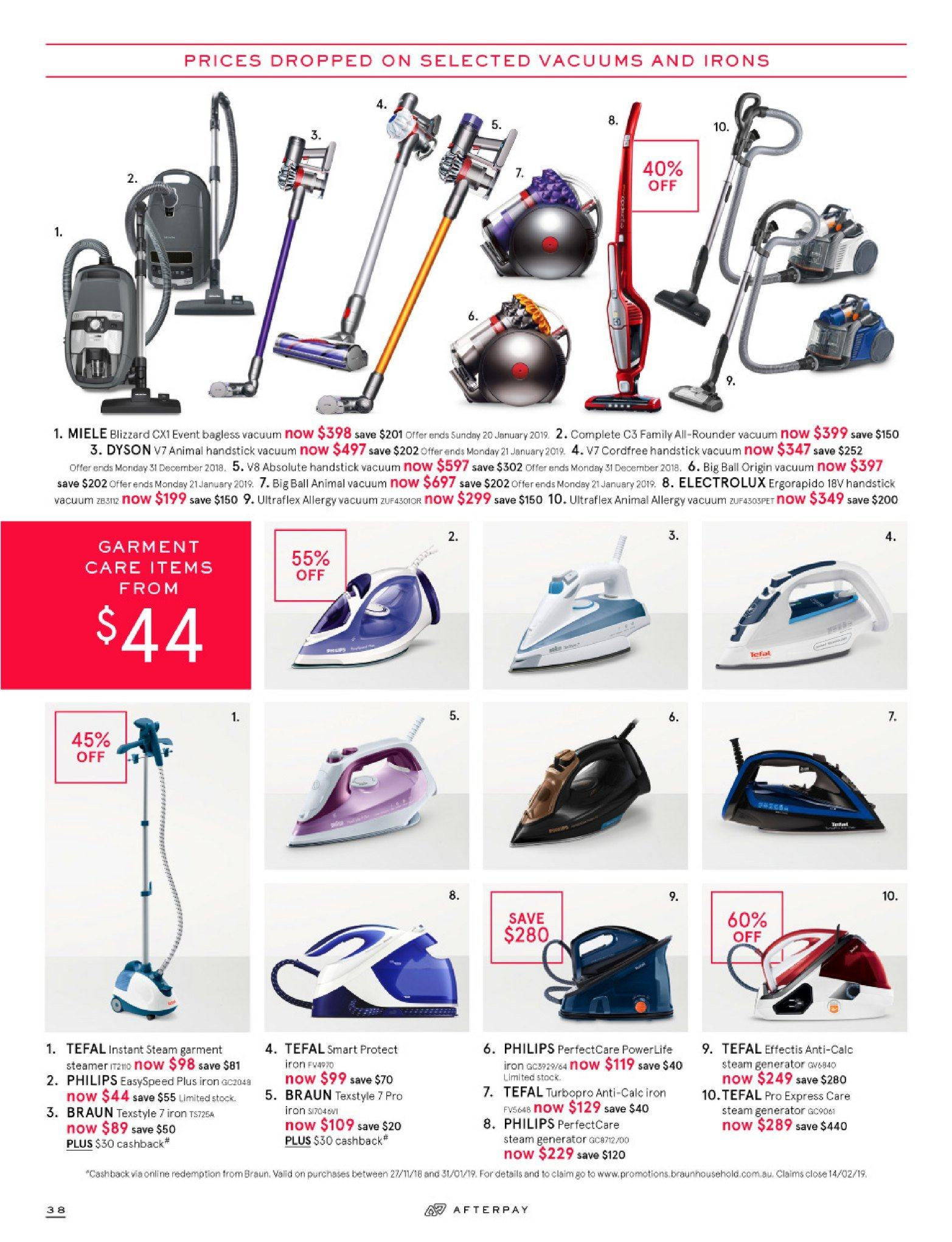 Myer catalogue  - 26.12.2018 - 28.1.2019. Page 38.