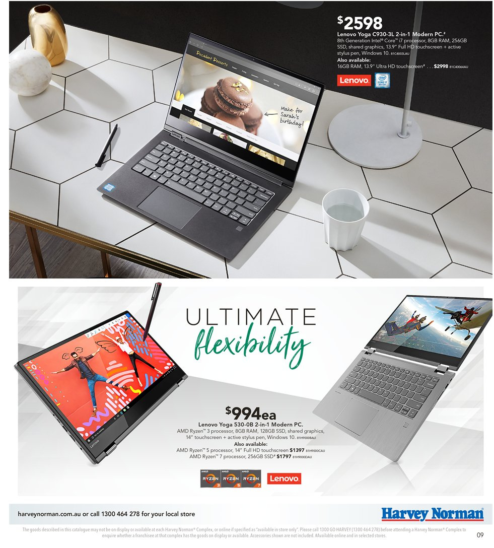 Harvey Norman catalogue  - 8.1.2019 - 27.1.2019. Page 9.