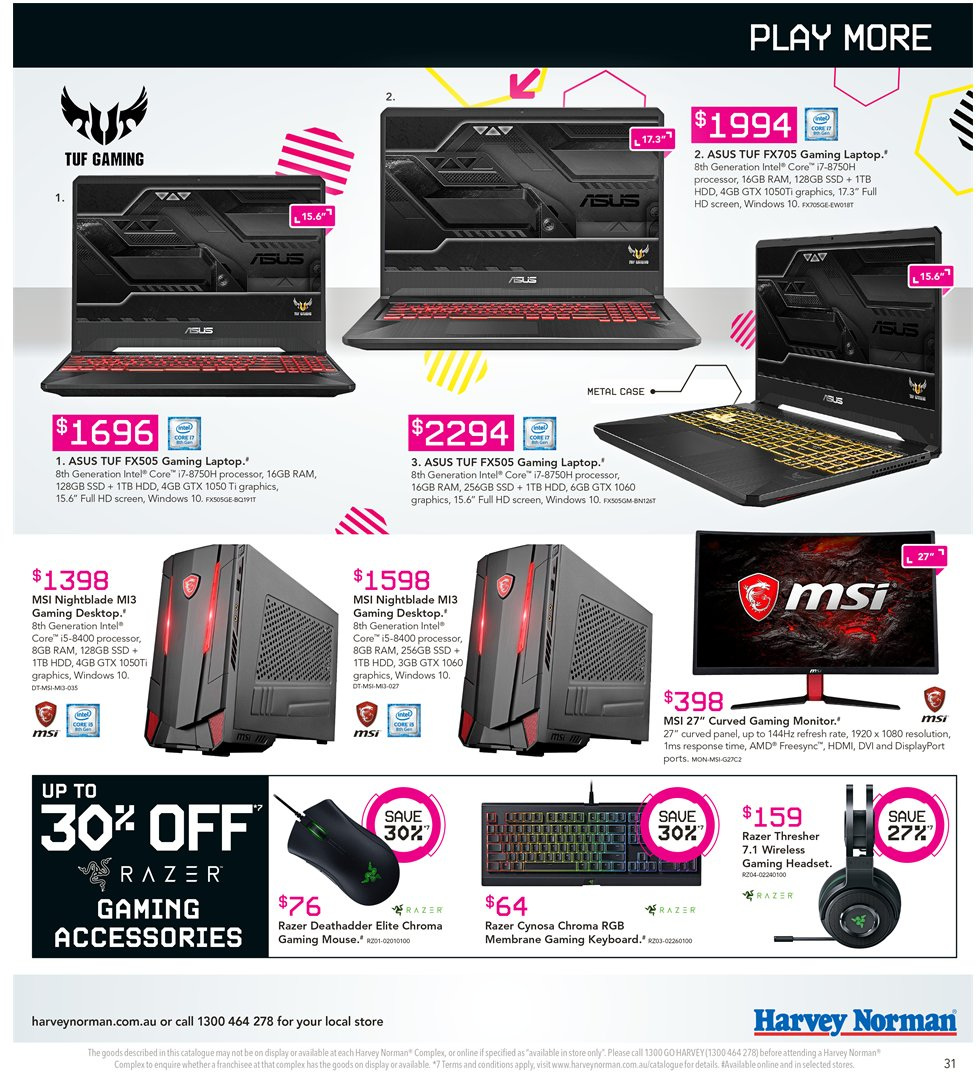 Harvey Norman catalogue  - 8.1.2019 - 27.1.2019. Page 31.