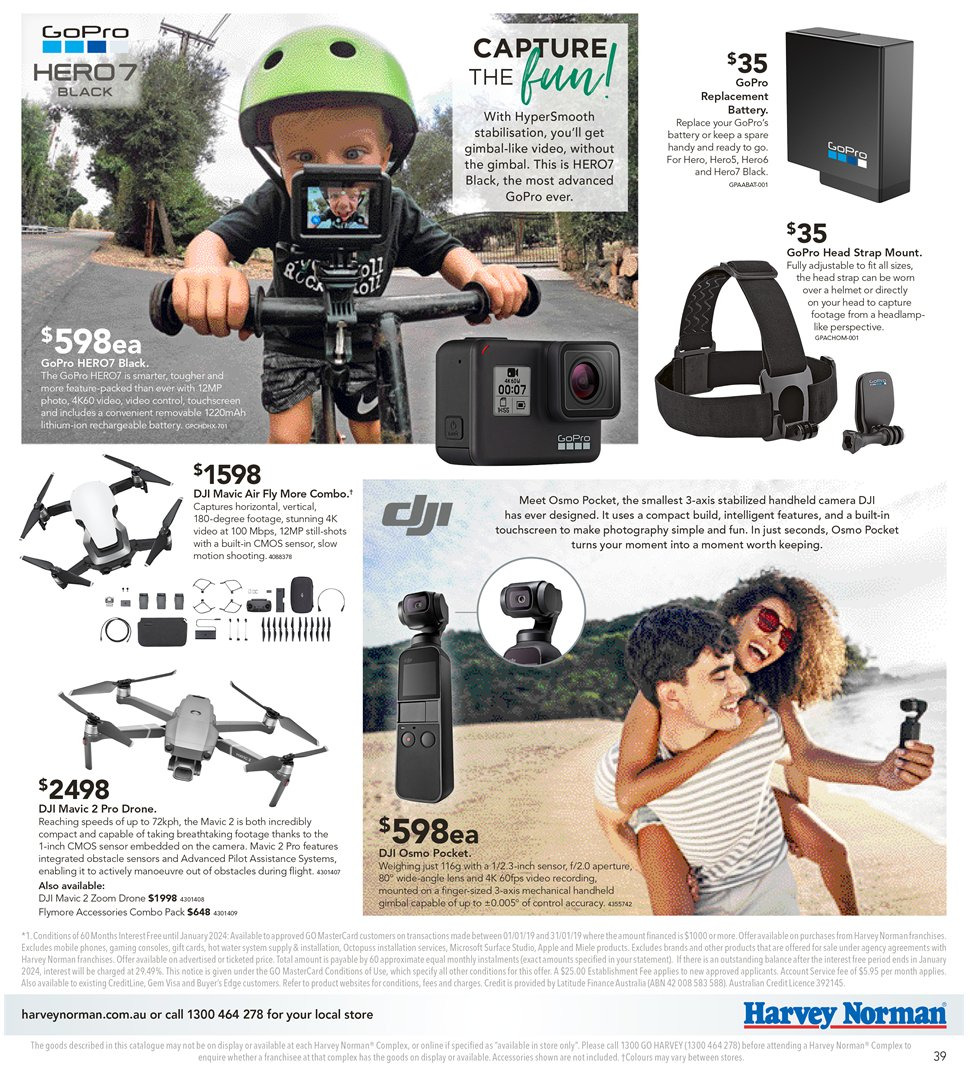 Harvey Norman catalogue  - 8.1.2019 - 27.1.2019. Page 39.