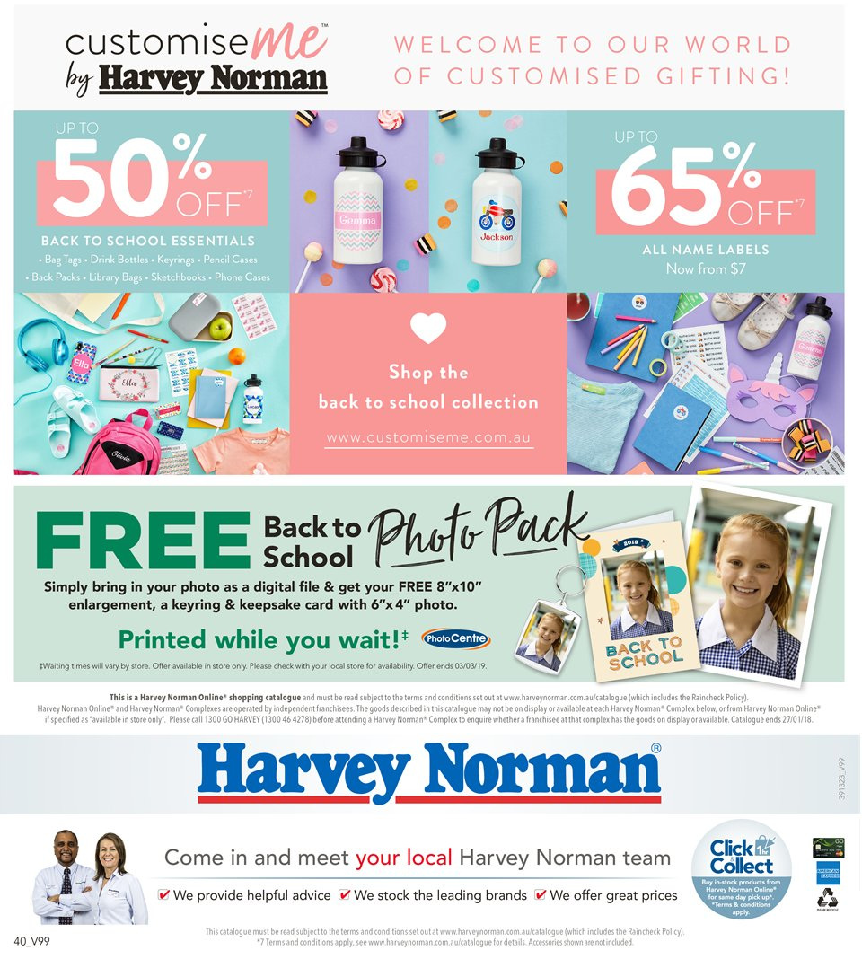 Harvey Norman catalogue  - 8.1.2019 - 27.1.2019. Page 40.
