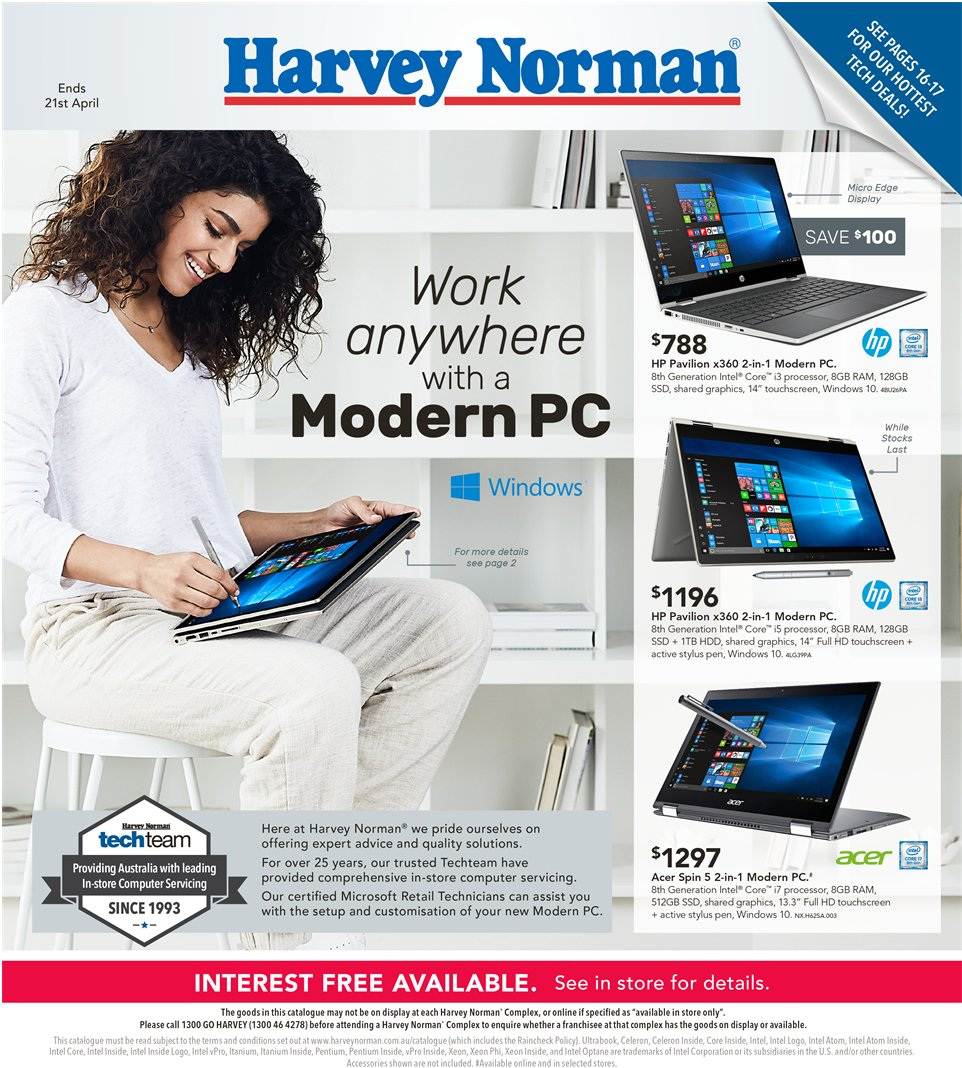 Harvey Norman catalogue  - 5.4.2019 - 21.4.2019. Page 1.