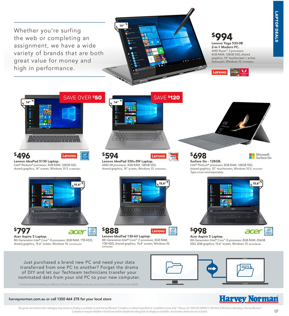Harvey Norman catalogue  - 5.4.2019 - 21.4.2019. Page 7.